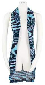 Missoni Missoni Mare Hooded Long Open Front Blue Swirl Knit Vest Cover Up 916