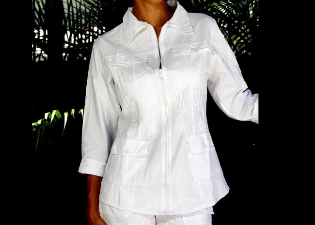 Lirome Boho Cottage Chic Ethnic Country Summer White Jacket Image 1