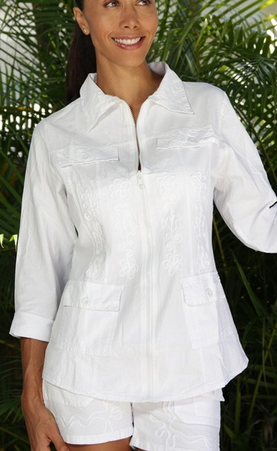 Lirome Boho Cottage Chic Ethnic Country Summer White Jacket Image 2