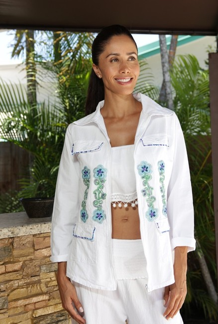 Lirome Boho Cottage Chic Ethnic Country Summer White Jacket Image 3