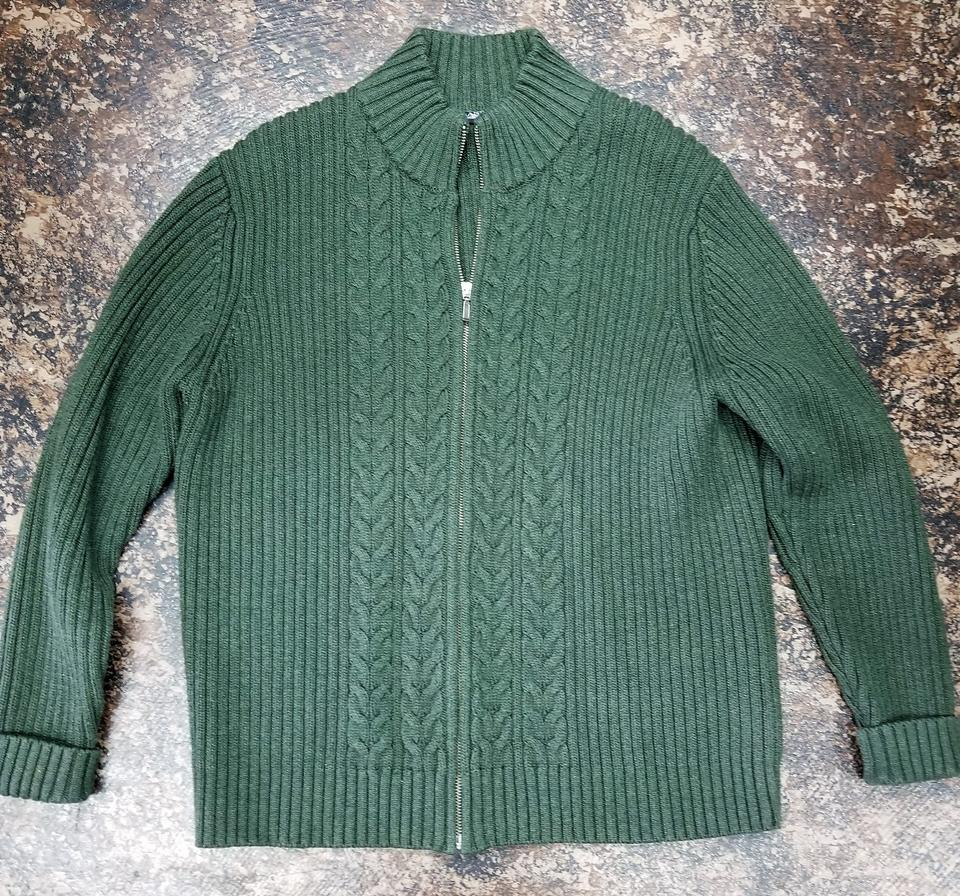 105823ff11 Lands  End Hemlock Green Cable Knit Zipper Cardigan Size 12 (L ...