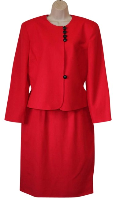 Item - Red Christian Blazer/Skirt Outfit Worsted Wool Skirt Suit Size 14 (L)