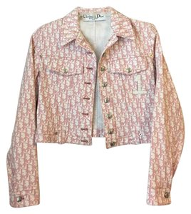 Dior Collectible Embellished Crystal Logo Pink, White Womens Jean Jacket