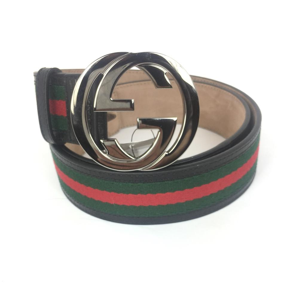 4a1cbe6a0 Gucci Red/Green/Black Stripe Embroidered Leather 35