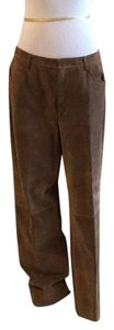 Saks Fifth Avenue Real Leather Lining 94% Polyester 6% Spandex Dry Clean Relaxed Pants tan / rusty