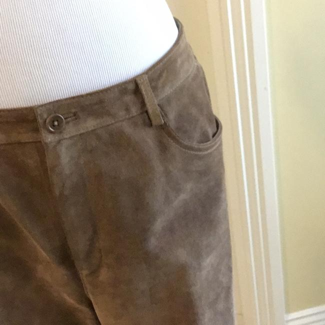 Saks Fifth Avenue Real Leather Lining 94% Polyester 6% Spandex Dry Clean Relaxed Pants tan / rusty Image 1