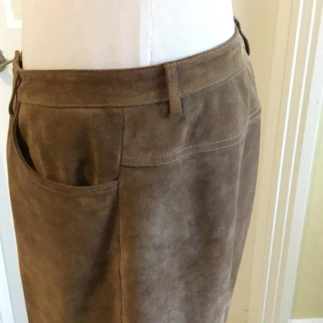 Saks Fifth Avenue Real Leather Lining 94% Polyester 6% Spandex Dry Clean Relaxed Pants tan / rusty Image 3