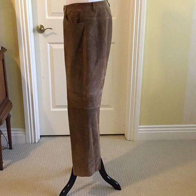 Saks Fifth Avenue Real Leather Lining 94% Polyester 6% Spandex Dry Clean Relaxed Pants tan / rusty Image 4