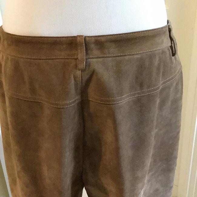 Saks Fifth Avenue Real Leather Lining 94% Polyester 6% Spandex Dry Clean Relaxed Pants tan / rusty Image 5