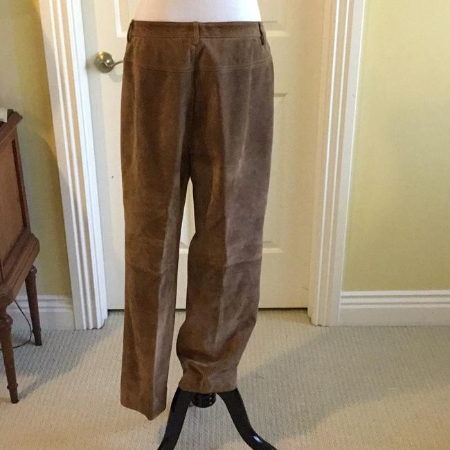 Saks Fifth Avenue Real Leather Lining 94% Polyester 6% Spandex Dry Clean Relaxed Pants tan / rusty Image 6