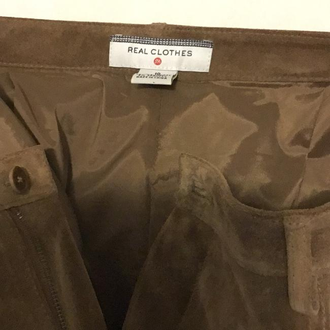 Saks Fifth Avenue Real Leather Lining 94% Polyester 6% Spandex Dry Clean Relaxed Pants tan / rusty Image 7