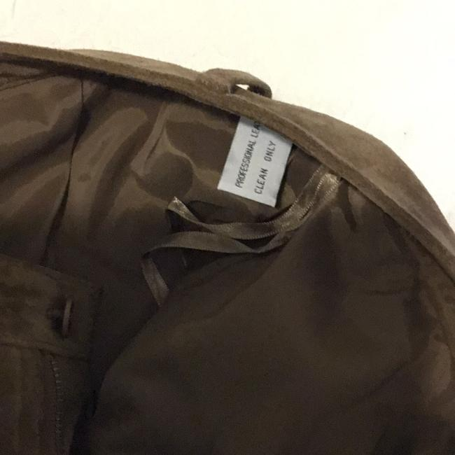 Saks Fifth Avenue Real Leather Lining 94% Polyester 6% Spandex Dry Clean Relaxed Pants tan / rusty Image 8