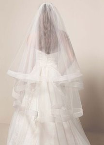 Blush Medium Two Layer Mid Length with Horsehair Trim Bridal Veil