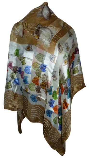 """Lalique Multicolor Made In Italy Colorful Fish Huge Silk 53""""X53"""" Scarf/Wrap Lalique Multicolor Made In Italy Colorful Fish Huge Silk 53""""X53"""" Scarf/Wrap Image 1"""