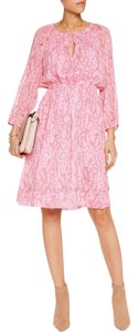 Diane von Furstenberg short dress coral Floral Flowy Sheer on Tradesy