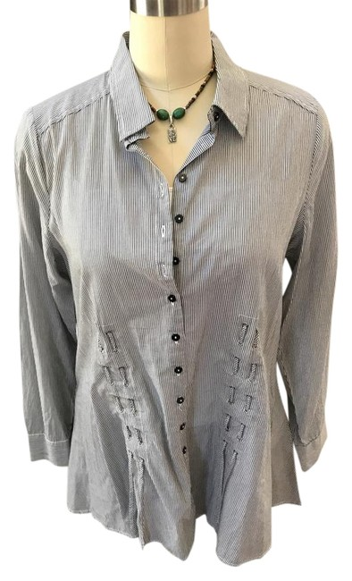 Item - Midnight Blue and And Soft White Striped Shirt Button-down Top Size 14 (L)