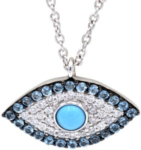 White gold evil eye pendant necklace tradesy moses jewelers evil eye pendant white gold aloadofball Image collections