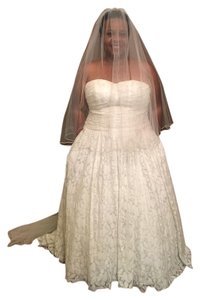 David's Bridal Soft White Long Cathedral Length Sheer W/ Blusher and Trim Veil