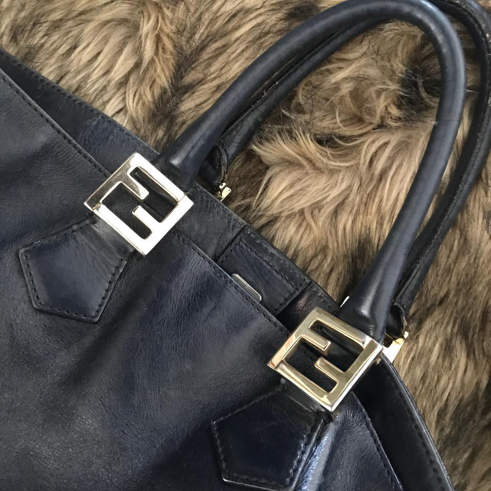 a3ede5ebcc4f Fendi Twin (Navy) Navy Leather Tote - Tradesy