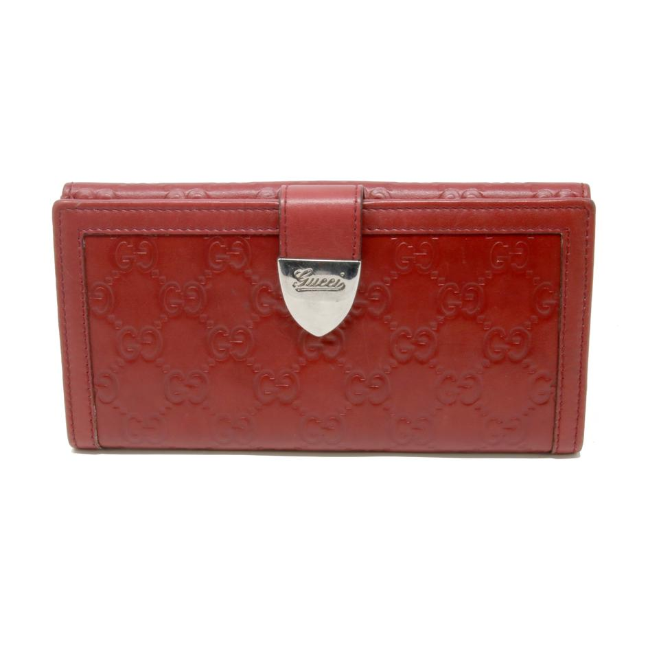 05f360fe491683 Gucci Red Signature Guccissima Gg Monogram Leather Long Travel Chrome Wallet