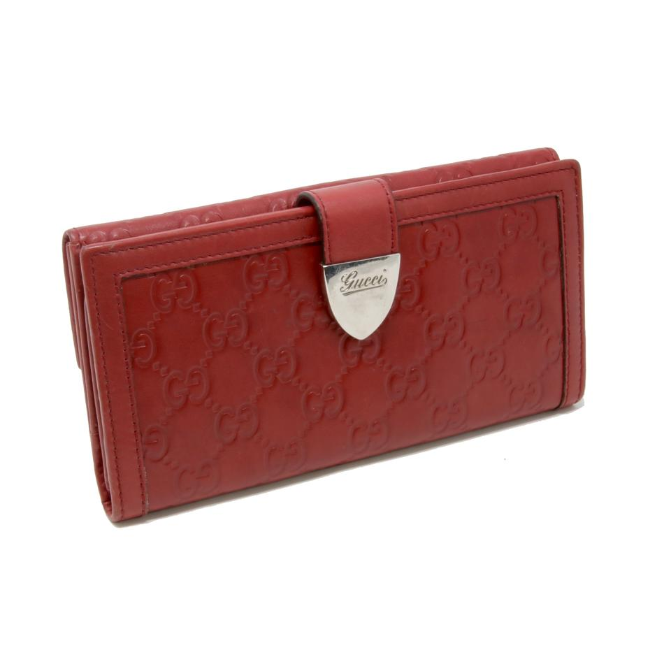 dc77d495853c07 Gucci Red Signature Guccissima Gg Monogram Leather Long Travel ...