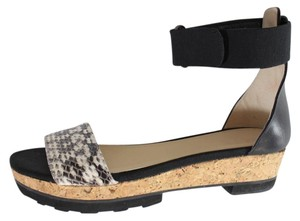 Jimmy Choo Wedge Snakeskin Platforms Black, White Sandals