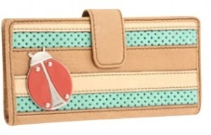 Fossil leather lady bug clutch wallet
