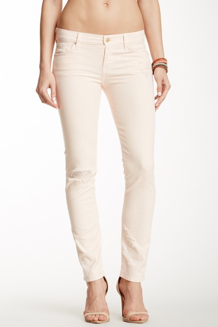 7 For All Mankind Distressed Destroyed Skinny Jeans-Distressed Image 2