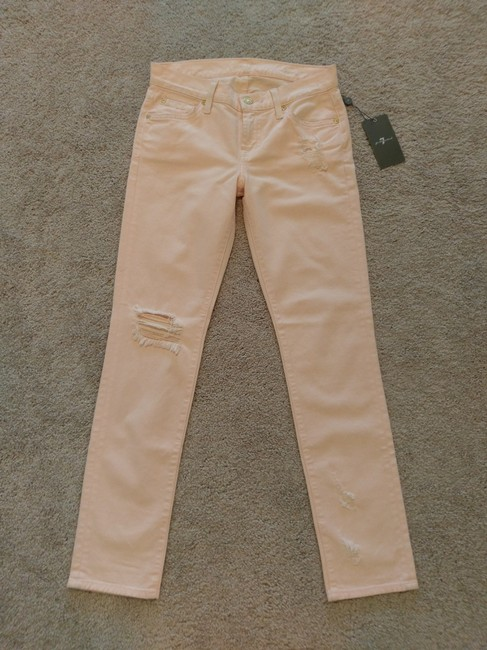 7 For All Mankind Distressed Destroyed Skinny Jeans-Distressed Image 5