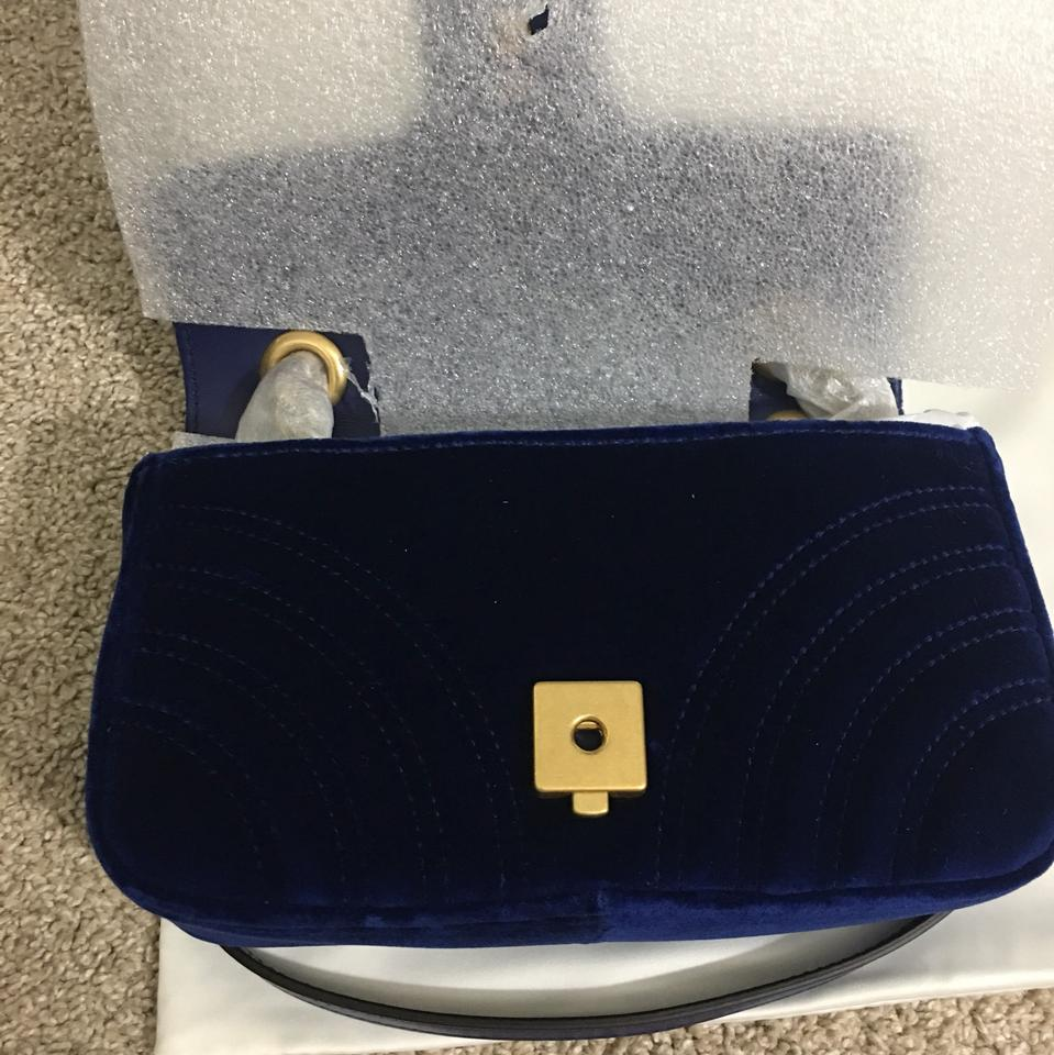 6da135693970 Gucci Marmont In Royal Blue Velvet Shoulder Bag - Tradesy