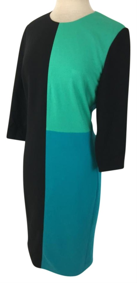 Carlisle Black/Green/Blue Color Mid-length Work/Office Dress Size 10 ...