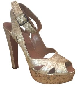 ALAÏA Sexy Snakeskin Cork tan and gold Pumps