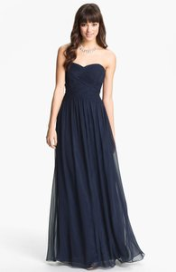 JS Boutique Navy Strapless Ruched Bodice Chiffon Gown Dress