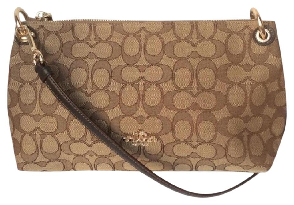 cbf86d6914af Coach Charley Otln Signature   Clutch Khaki   Brown Jacquard Fabric ...