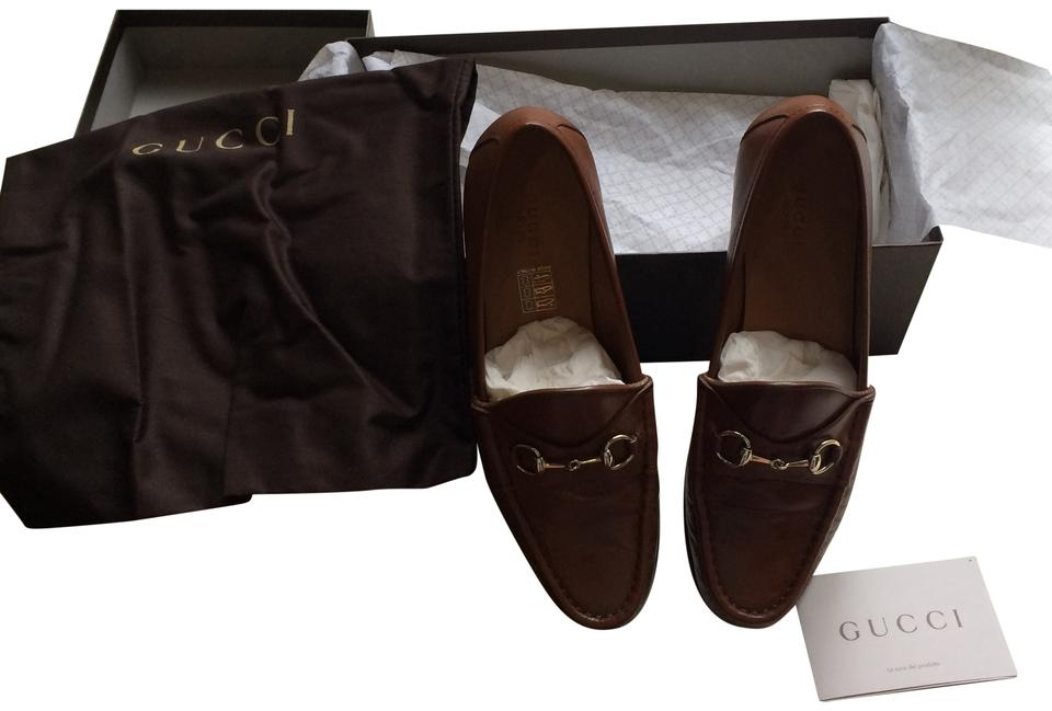 e94eaebb9341 Gucci Tan Horsebit Leather Loafers Womens Flats Size US 8 Regular (M ...