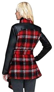 Belle Gray Wrap Coat Belted Plaid Cardigan Red Jacket