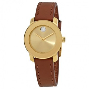Movado Bold Gold Sunray Dial Ladies Leather Watch