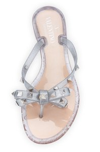 Valentino Jelly Flat Studded Silver Sandals