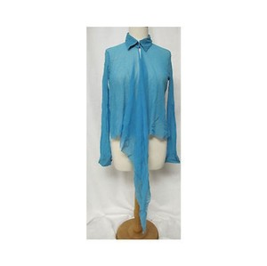 Fuzzi Womens Blue Sheer Long Top Blues