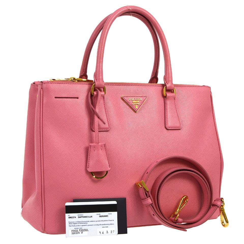 5f6f3893cab2 Prada Galleria Double Saffiano Large Zip Tote Pink Leather Shoulder Bag