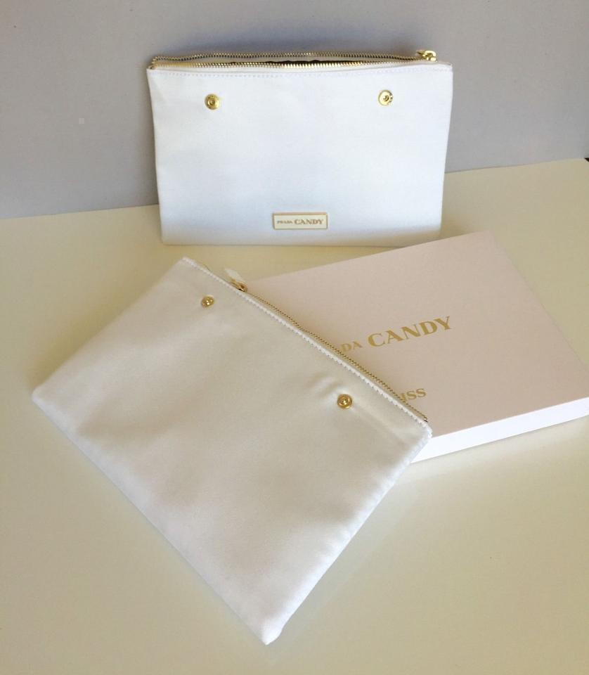 5e45bc79ccf5 Prada White Double Candy Kiss Makeup Pouch Set Clutch Cosmetic Bag ...