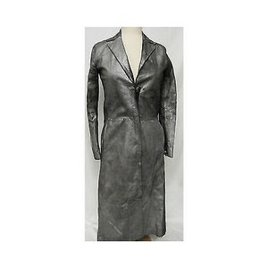 BCBGMAXAZRIA Womens Bcbg Max Azria Suede Long Pewter Jacket 0 Coat
