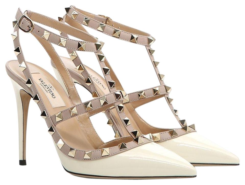 Valentino Light Colorblock Ivory White Classic Rockstud Colorblock Light Cage Patent Leather 100mm Point Toe Heels Pumps f8588a