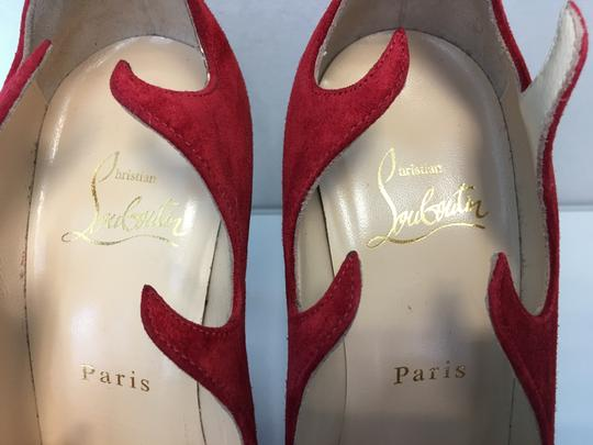 Christian Louboutin Heels Point Toe Olavague Flame Red Pumps Image 6