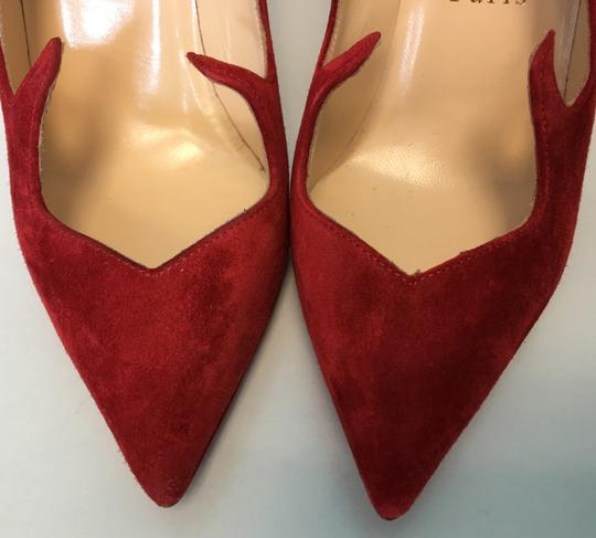 Christian Louboutin Heels Point Toe Olavague Flame Red Pumps Image 8