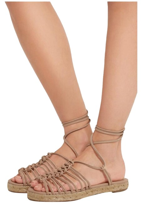 Item - Nude W New W/ Tag 2016 Spring Runway Leather Lace-up Espadrilles Sandals Size EU 38 (Approx. US 8) Regular (M, B)
