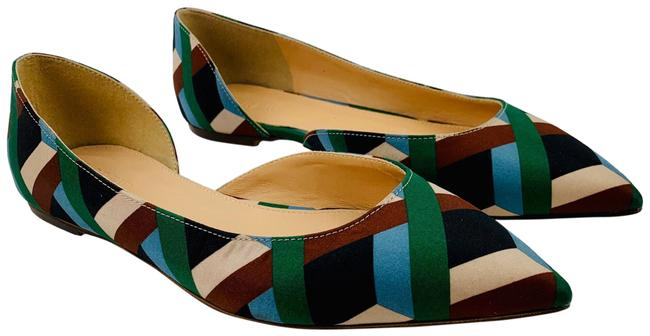 Item - Green Brown Silk Leather Audrey In Ratti Graphic Diamond Flats Size US 6.5 Regular (M, B)