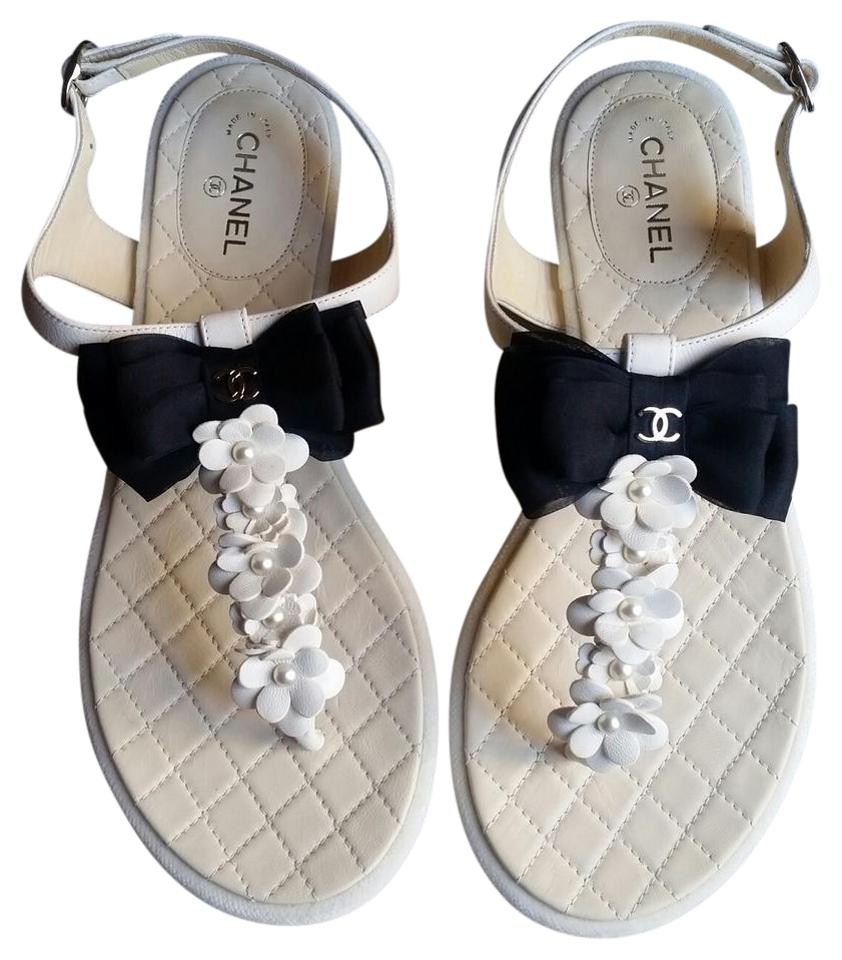 2df502f3f Chanel White   New   T-strap with Black Bow   Leather Camellia ...
