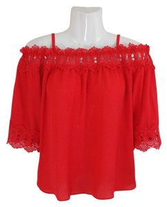 by&by Boho Crepe Eyelet Flowy Cold Shoulder Top coral