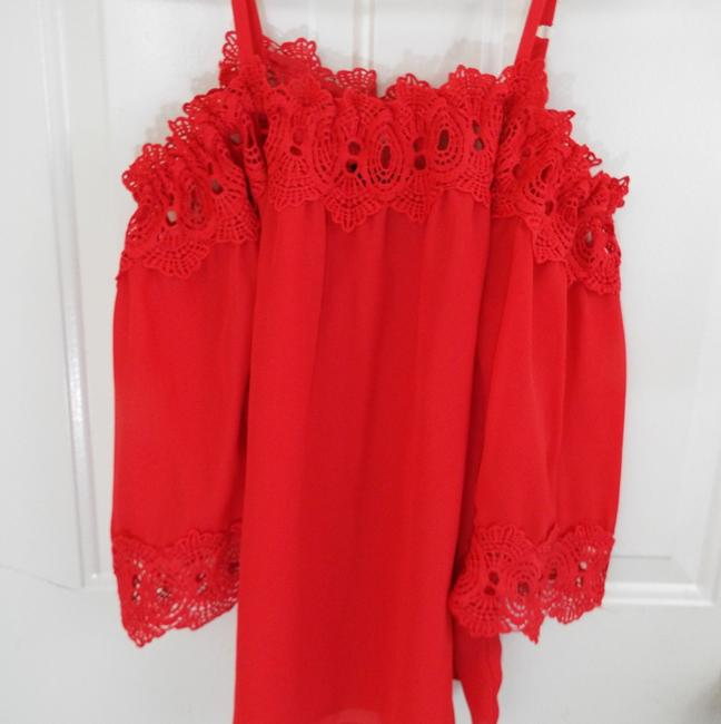 by&by Boho Crepe Eyelet Flowy Cold Shoulder Top coral Image 6